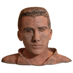 Terra Cotta Bust of a Handsome Man Signed M.D