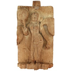 Indian Apsara with Fan on Carved Wood Plaque