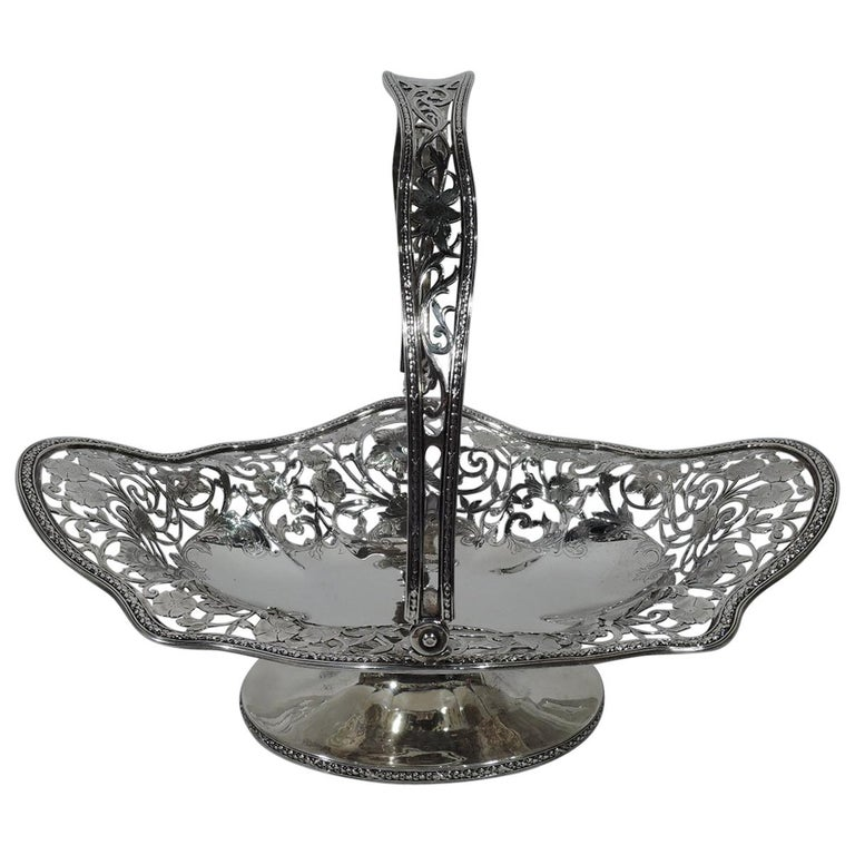 Antique American Art Nouveau Pierced Sterling Silver Basket