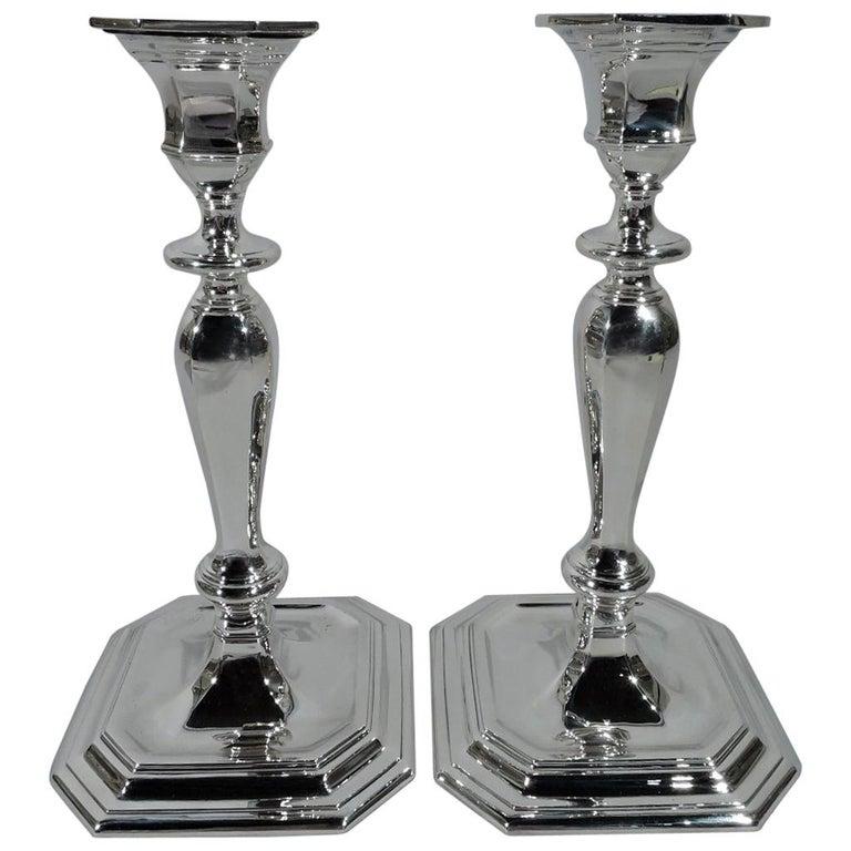 Pair of Tiffany Modern Georgian Sterling Silver Candlesticks
