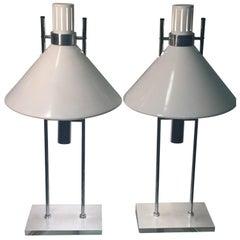 Robert Sonneman Pair of Modernist Lamps