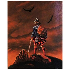 Canadian Artist Fraser Painting of a Mythical Scottish Highlander Slain Dragon