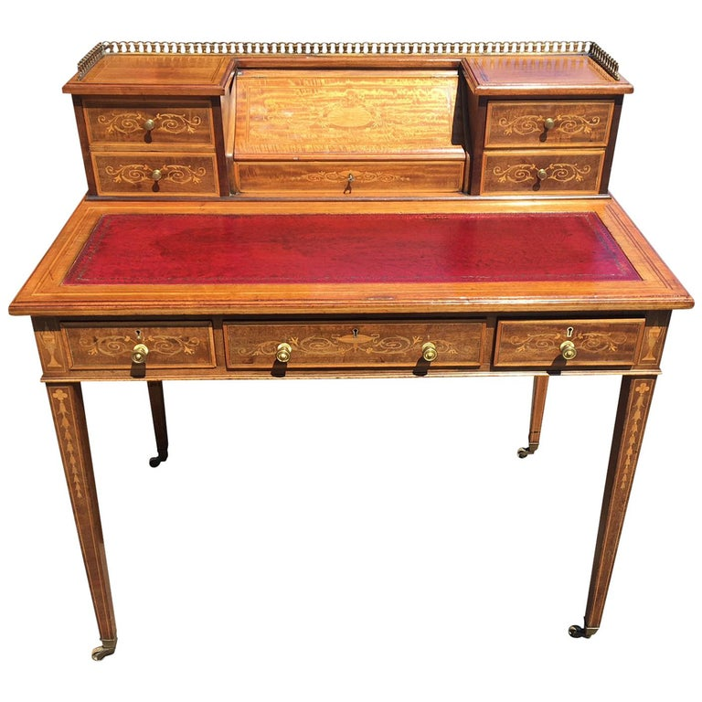 Writing Desk, Mahogany Inlaid, circa 1900