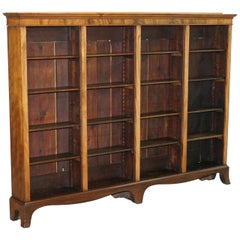 Lovely Victorian Walnut Very Large Dwarf Library Bookcase