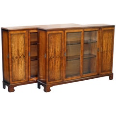 Matching Pair of Stunning Figured Walnut Sideboard Bookcases with Side Cupboards