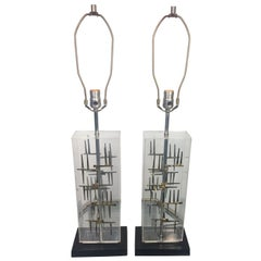Pair of Mid-Century Modern Brutalist Nail and Lucite Lamps