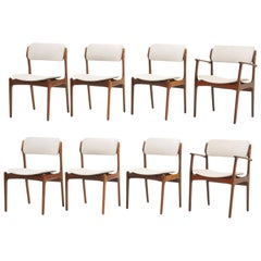 Set of Eight Dining Chairs, Rosewood by Danish Modern Designer Erik Buch