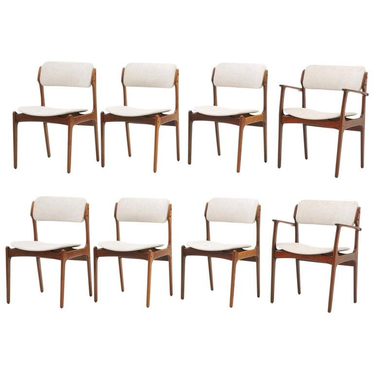 Set of Eight Dining Chairs, Rosewood by Danish Modern Designer Erik Buch