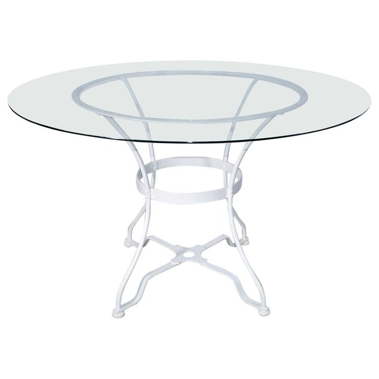 Round French Iron and Glass Outdoor Garden Dining Table