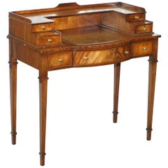 Light Mahogany Bevan Funnell Desk, Leather Writing Surface and Drawers