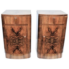 English Matching Pair of Art Deco Walnut Bedside Cabinets