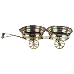 Fine 19th Century English Silver Plate Double Wine Trolley or Decanter Wagon