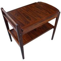 Danish Modern Rosewood Storage Tray Table or Bar Cart