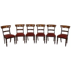 19th Century Italian Mahogany Inlay with Floral Motif Set of Six Chairs