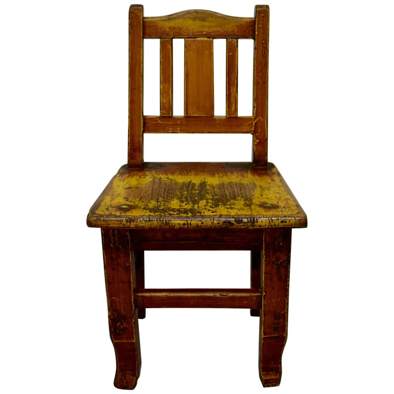 Painted Oak Plank-Seat Child's Chair
