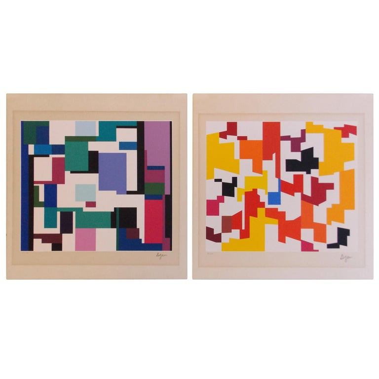 'Man' and 'Woman' Geometric Screen Prints Yaacov Agam, 1970s