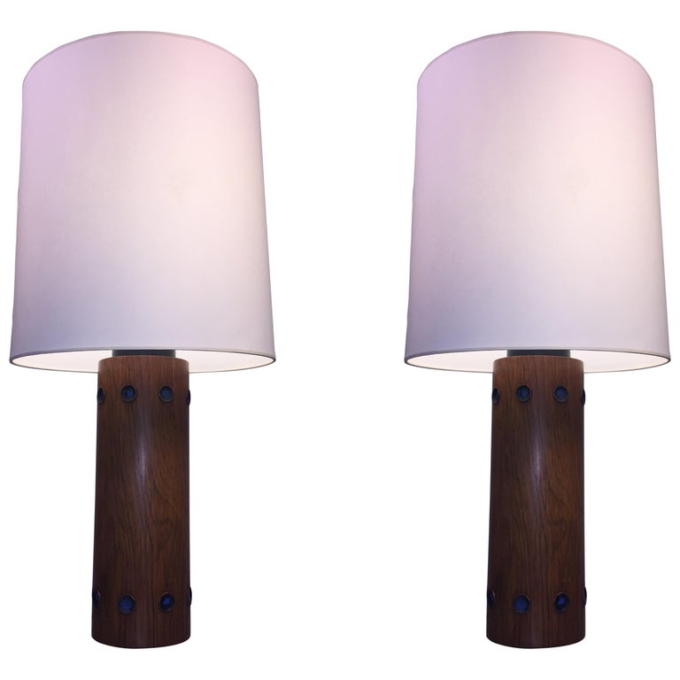 Pair of Italian Walnut and Enameled Copper Midcentury Lamps