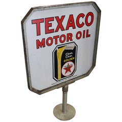 1930s Texaco Motor Oil Double-Sided Porcelain Curb Sign