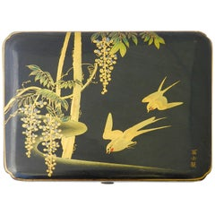 Chinoiserie Jewelry Box Aesthetic Lacquered Swallows Signed, Early 20th Century