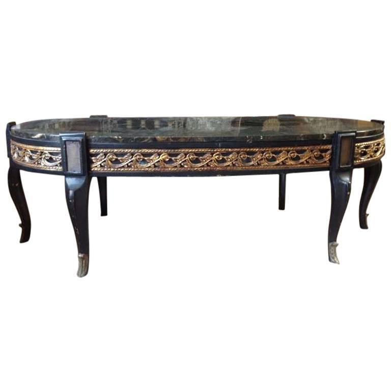 Marble Topped Gilt Coffee Table C 1920: Black Marble Gilt Coffee Table For Sale At 1stdibs