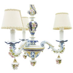Porcelain Chandelier from Milano, Italy, 1960s