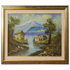 Italian Lake View Signed Painting Oil on Canvas from 20th Century
