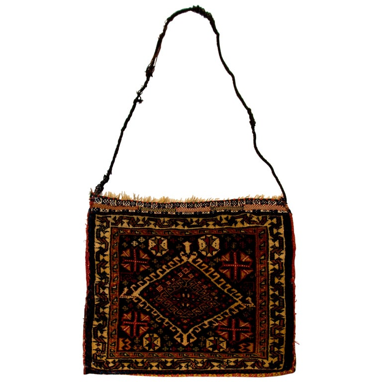 Early 20th Century Antique Ghasghaei Shepherd's Bag