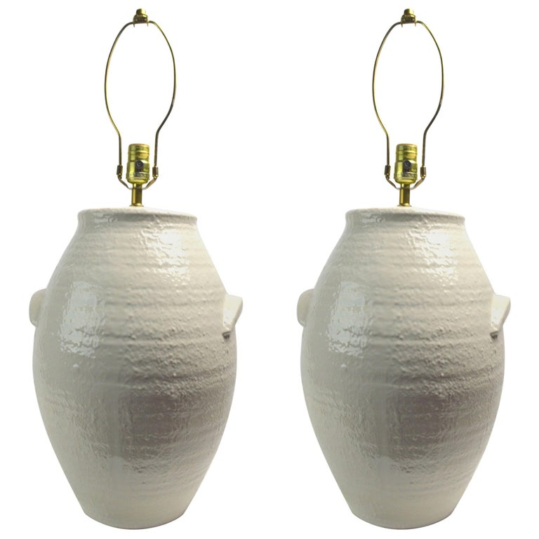 Pair of Ceramic White on White Jar Form Table Lamps For Sale