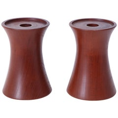 Pair of 20th Century Cherrywood Candleholders