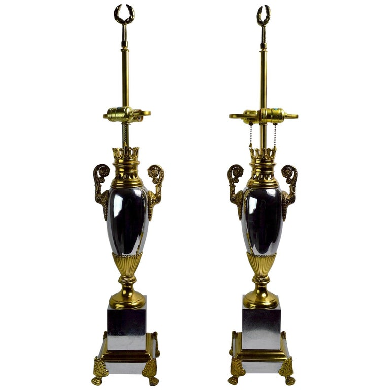 Pair of Hollywood Regency Lamps by Tyndale For Sale