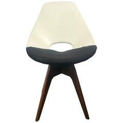 Unusual Modernist Two-Tone Swivel Desk or Side Chair