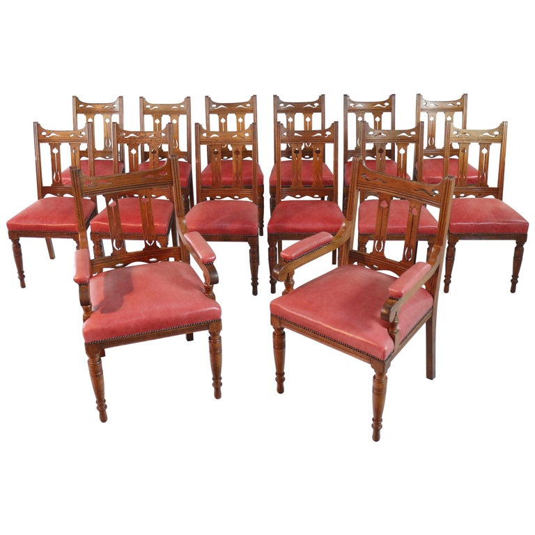 Set Of 14 Arts Crafts Oak Dining Chairs