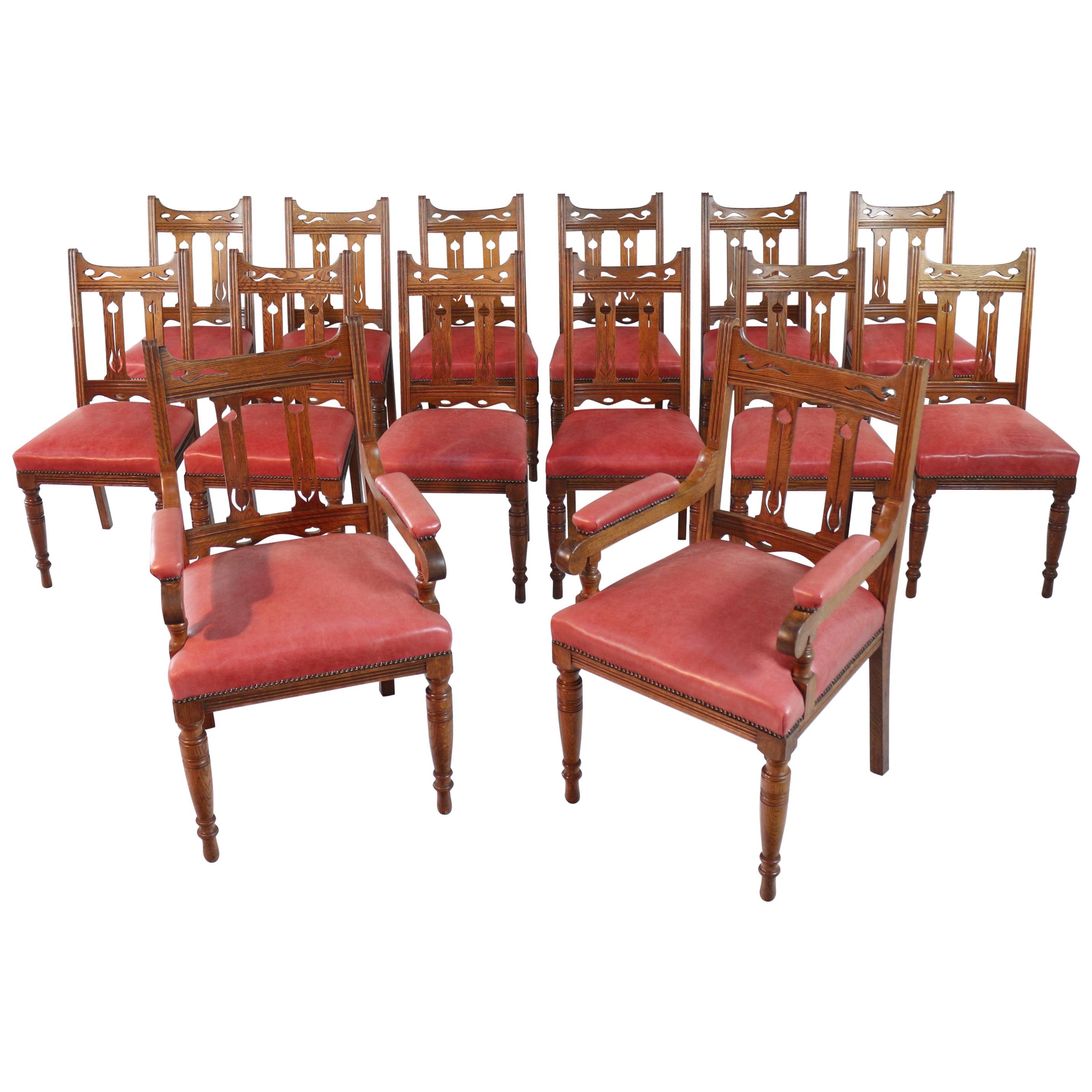 Set Of 14 Arts U0026 Crafts Oak Dining Chairs
