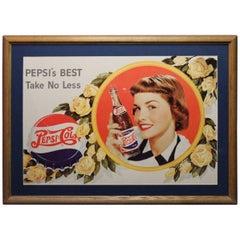1940s Vintage Pepsi Cola Cardboard Advertising Sign