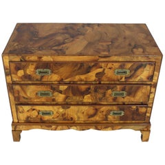 Italian Burl Olive Wood Patch Parquetry Three-Drawer Bachelor Chest
