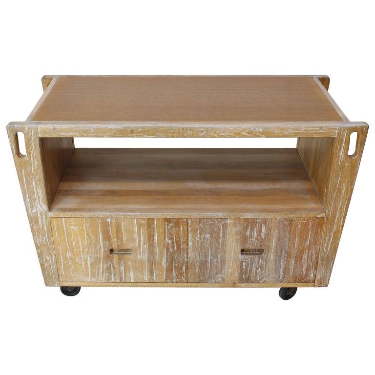 Arts & Crafts Adze Cut Ceruised Oak Finish Serving Cart Bar on Wheels
