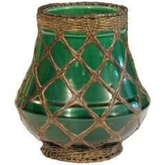 Awaji Shima Pottery Brush Pot Artist's Vase Arts & Crafts Bronze Weaving