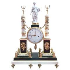 Louis XVI Ormolu and Marble Clock