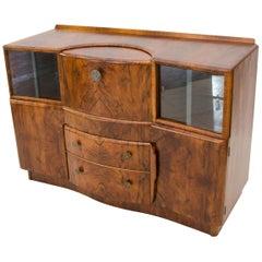 "Art Deco Burl Walnut English Bar Cocktail Cabinet, ""Beautility"""
