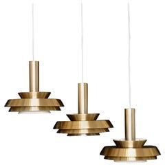 Three Carl Thore Trava Pendant Lamps by Granhaga Sweden Sigurd Lindkvist