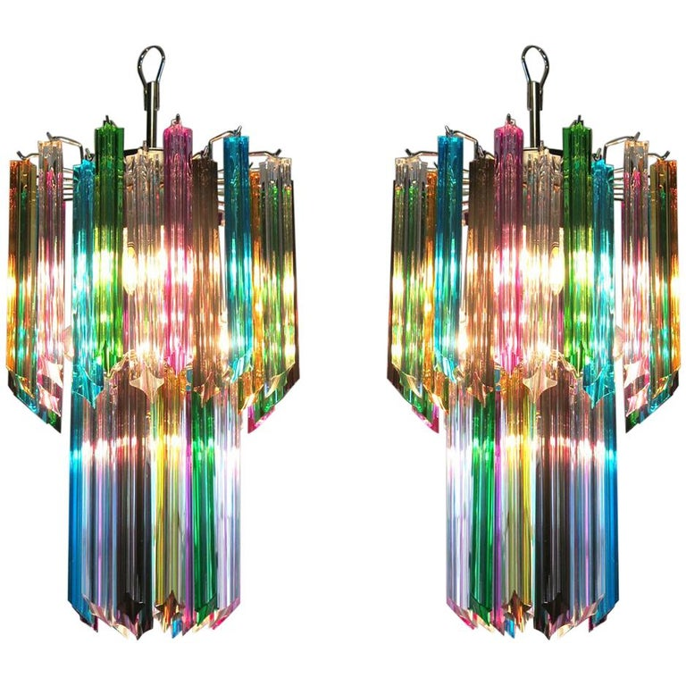 Pair of Italian Chandelier Multi-Color Venini Style, Murano