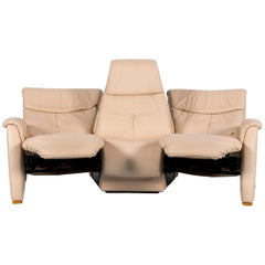 Himolla Trapez Sofa Off-White Three-Seat Couch Recliner