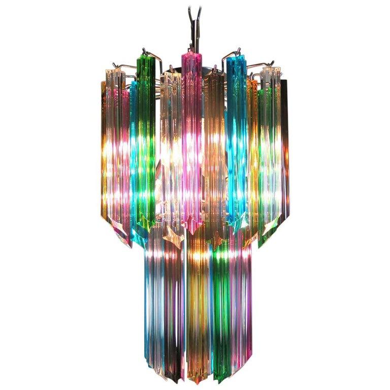 Huge murano chandelier multi color 84 prism in venini style for sale italian chandelier multi color venini style murano aloadofball Image collections