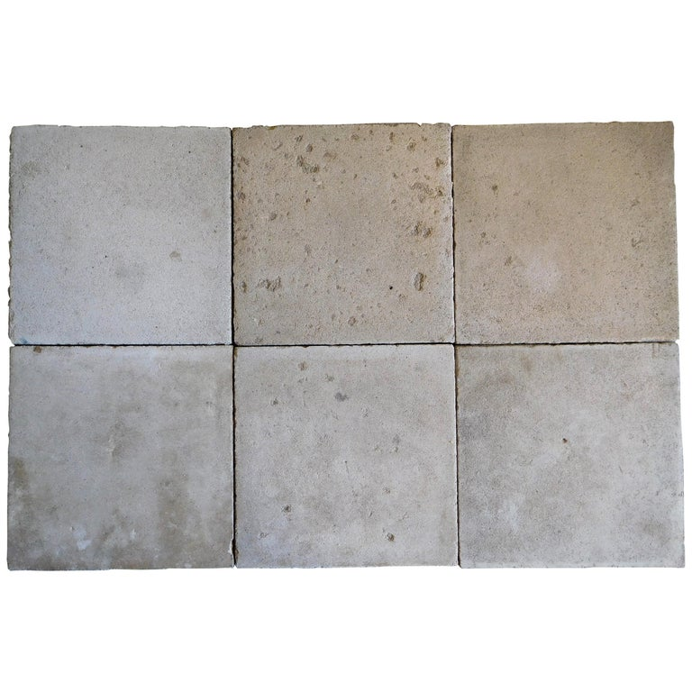 Soft Grey Nuanced Old Cement Floor Tiles For Sale At 1stdibs