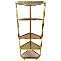 Brass and Glass Corner Shelving Unit