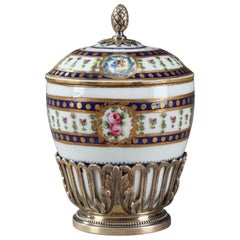 19th Century Small Antique Inkwell in Porcelain and Silver-Gilt in Sevres Style
