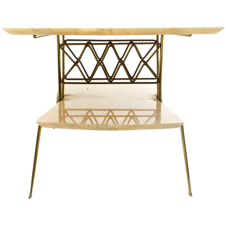 Italian Brass and Marble Coffee Table, 1950s