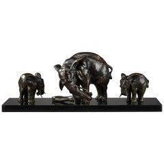 Bronze Statue Elephant with Its Two Baby Elephants by Ulisse Caputo