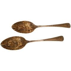 Art Deco Pair of Silver Strawberry Spoons England