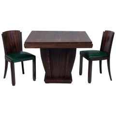 Macassar Art Deco French Set of Six Chairs, Green Leather, Completely Restored